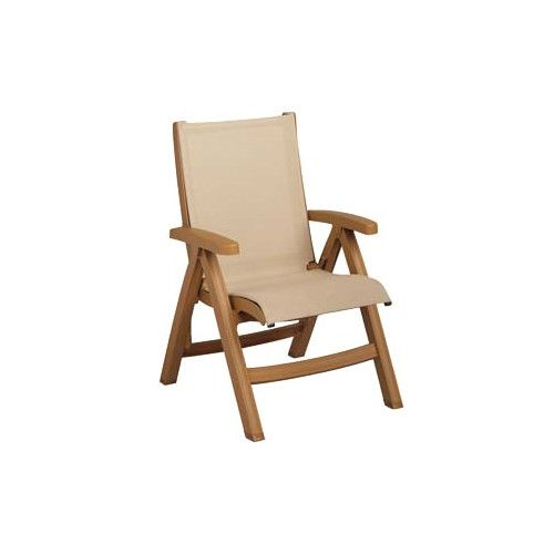 Grosfillex US352008 Khaki Belize Folding Sling Chair w/ Teakwood Fram (case of 2)