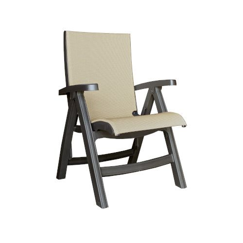 Grosfillex US355002 Gray Tweed Belize Folding Sling Chair w/ Charcoal Frame (case of 2)