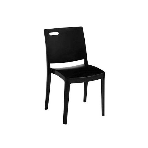 Grosfillex US356017 Black Metro Stacking Chair (case of 4)