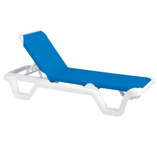 Grosfillex US404006 Blue Marina Adjustable Sling Chaise w/ White Frame (case of 2)