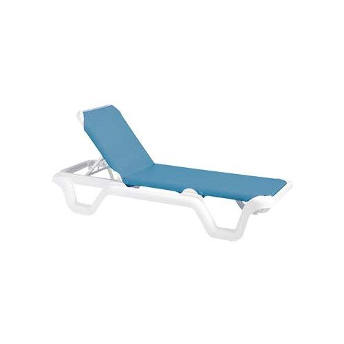 Grosfillex US404194 Sky Blue Marina Adjustable Sling Chaise w/ White Frame (case of 2)