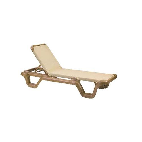 Grosfillex US414108 Khaki Marina Adjustable Sling Chaise w/ Teakwood Frame (case of 2)