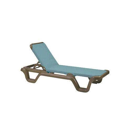 Grosfillex US414550 Spa Blue Marina Adjustable Sling Chaise w/ Bronze Mist Frame (case of 2)