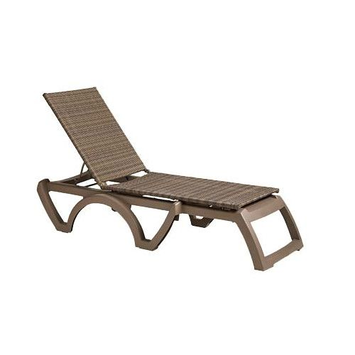 Grosfillex US435181 Mochaccino/Taupe Java All-Weather Wicker Chaise (case of 16)