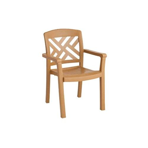 Grosfillex US451408 Teakwood Sanibel Stacking Armchair (case of 4)