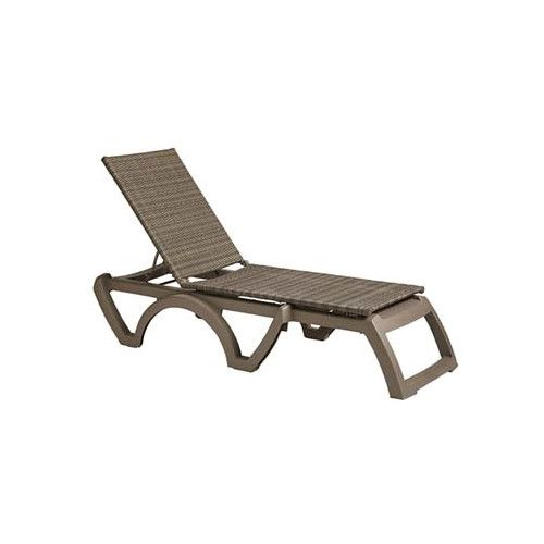 Grosfillex US524681 Mochaccino/Taupe Java All-Weather Wicker Chaise (case of 2)