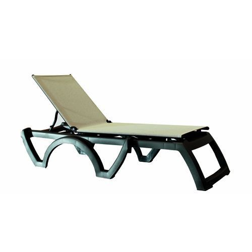 Grosfillex US636002 Gray Tweed/Charcoal Calypso Stacking Chaise (case of 2)