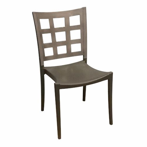 Grosfillex US646579 Titanium Gray/Charcoal Plazza Stacking Chair (case of 16)