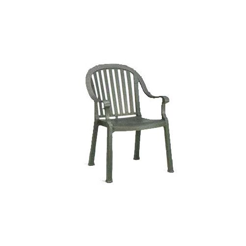 Grosfillex US650002 Charcoal Colombo Stacking Armchair (case of 12)