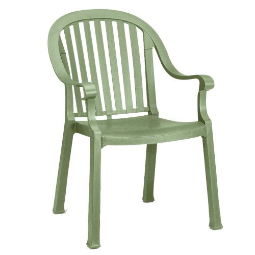 Grosfillex US650721 Sage Green Colombo Stacking Armchair (case of 12)