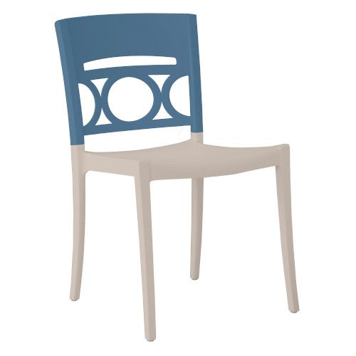 Grosfillex US656680 Denim Blue/Linen Moon Stacking Sidechair (case of 16)