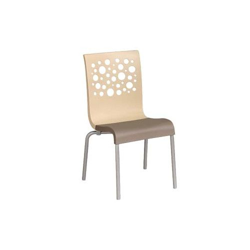 Grosfillex US835413 Beige/Taupe Tempo Stacking Chair (case of 4)