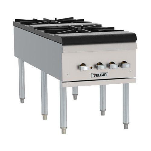 Vulcan VSP200F Gas 2 Burner Countertop Stock Pot Range - 220,000 BTU