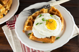 Savory Beer Waffles with Cheddar Cheese and Scallions