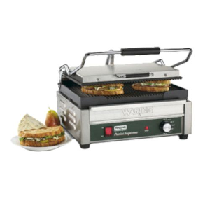 Sandwich Grill with Grooved Top and Bottom